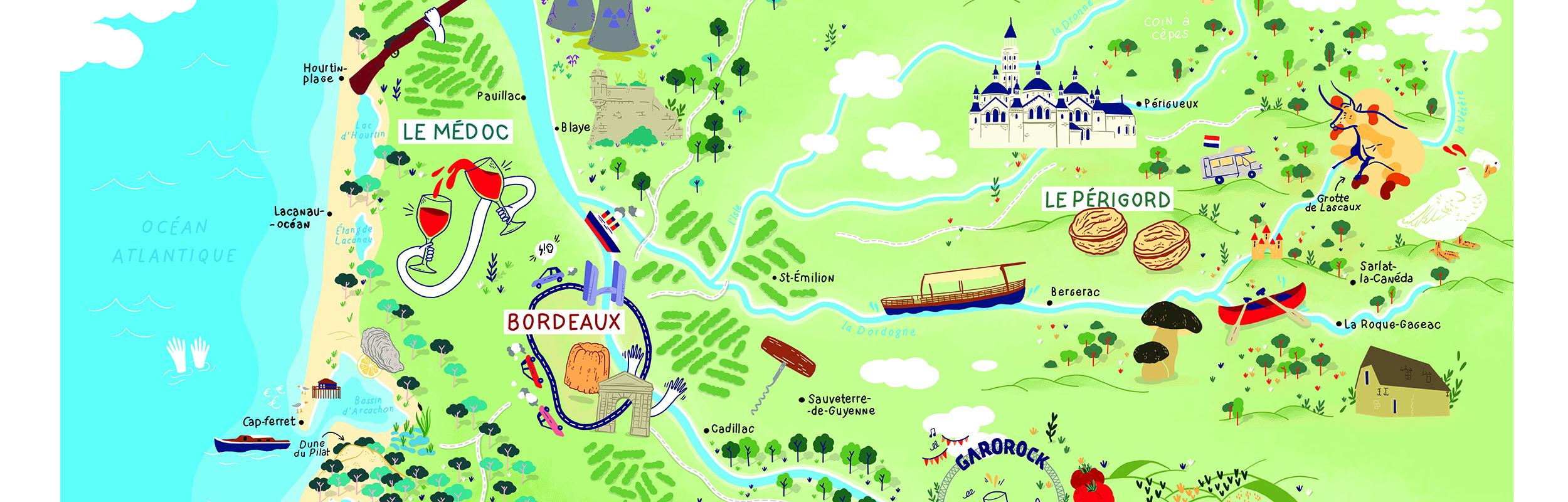 Belle carte Aquitaine